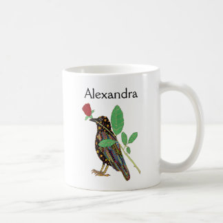 Mexican Crow & Red Rose Folk Art Personalized Coffee Mug