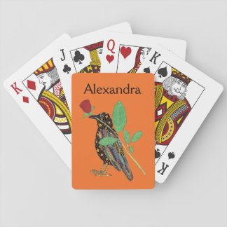 Mexican Crow & Rose Orange Folk Art Personalized Playing Cards