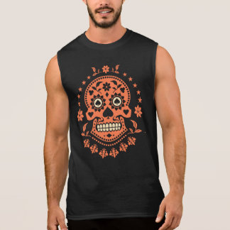 Mexican Day of the Dead Decorated Sugar Skull Sleeveless Shirt
