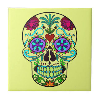Mexican Day of the Dead Skull Ceramic Tile 4 x 4