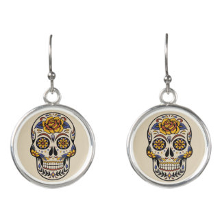 Mexican day of the dead skull fashion earrings