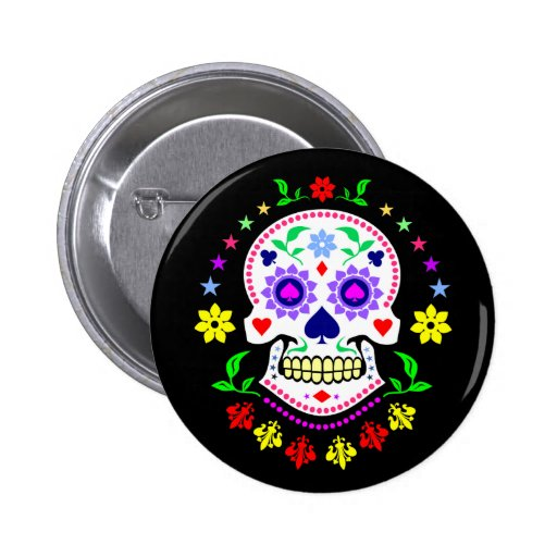 Mexican Day of the Dead Sugar Skull Button