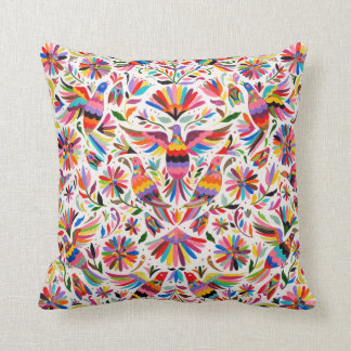 Mexican Design Colorful pigeons & Pheasant Throw Pillow