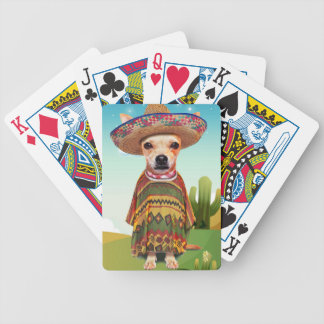 Mexican dog ,chihuahua bicycle playing cards