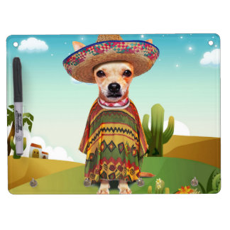 Mexican dog ,chihuahua dry erase board with key ring holder