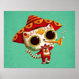 Mexican El mariachi Cute Cat Poster