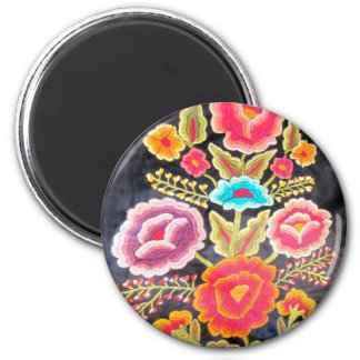 Mexican Embroidery design 6 Cm Round Magnet