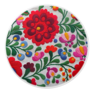 Mexican Embroidery Floral Red Bold Colors Coco Ceramic Knob