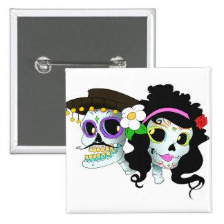 Mexican Festive Skull Couple 15 Cm Square Badge