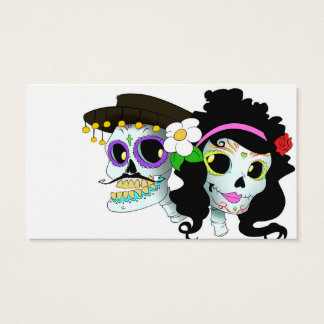 Mexican Festive Skull Couple Business Card