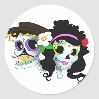 Mexican Festive Skull Couple Classic Round Sticker
