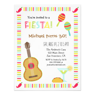 Mexican Fiesta Adult Birthday Party Invitations
