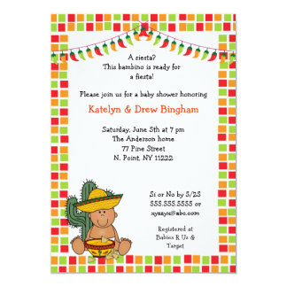 Mexican Fiesta Baby Shower Invite boy medium skin