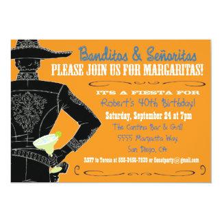 Mexican Fiesta Banditos, Senoritas & Margaritas 13 Cm X 18 Cm Invitation Card