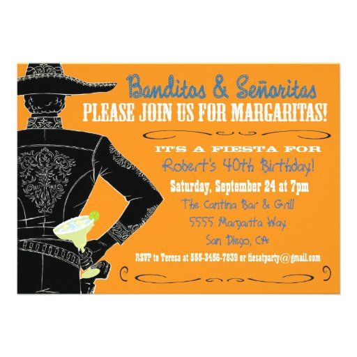Mexican Fiesta Banditos, Senoritas & Margaritas Personalized Announcements