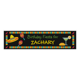 Mexican Fiesta Birthday Party Banner Poster
