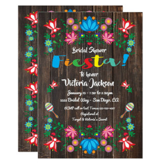 Mexican Fiesta Bridal Shower Flower Folkart Card