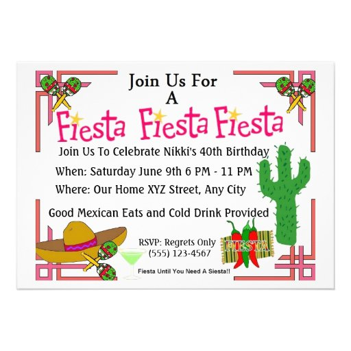 Mexican Fiesta Invites Birthday Party