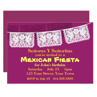 Mexican Fiesta Party 13 Cm X 18 Cm Invitation Card