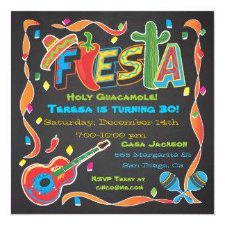 """Mexican Fiesta Party Invitation on blackboard 5.25"""" Square Invitation Card"""