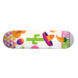 Mexican Fiesta Party Sombrero Saguaro Lime Peppers Skate Board