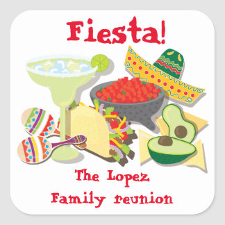 Mexican Fiesta sticker labels