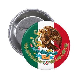Mexican Flag and Coat of Arms of Mexico Button Pin