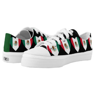 Mexican flag hearts tennis shoes printed shoes
