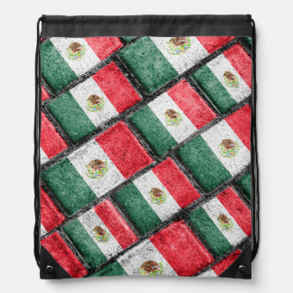 Mexican Flag Pattern Design Drawstring Bag