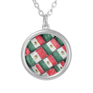 Mexican Flag Pattern Design Silver Plated Necklace