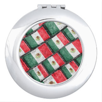 Mexican Flag Pattern Design Travel Mirrors
