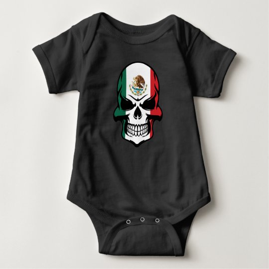 Mexican Flag Skull Baby Bodysuit