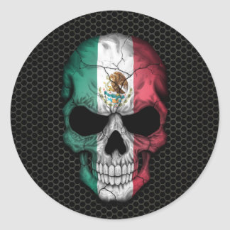 Mexican Flag Skull on Steel Mesh Graphic Stickers