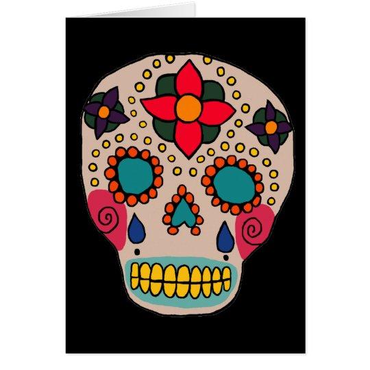 Mexican Folk Art Sugar Skull Card