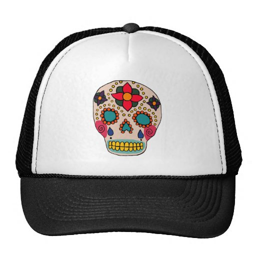 Mexican Folk Art Sugar Skull Trucker Hat