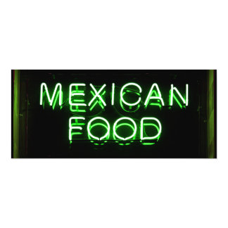 MEXICAN FOOD - Green Neon Sign 10 Cm X 24 Cm Invitation Card