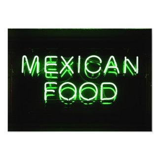 MEXICAN FOOD - Green Neon Sign 13 Cm X 18 Cm Invitation Card