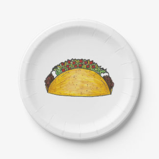 Mexican Food Hard Shell Taco Tacos Print Plates 7 Inch Paper Plate