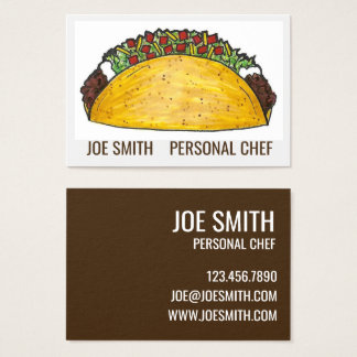 Mexican Food Restaurant Beef Taco Personal Chef Business Card