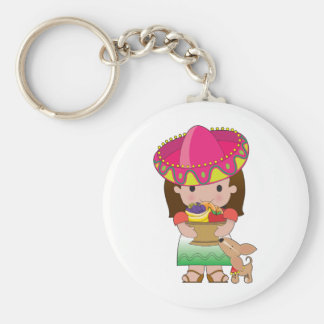 Mexican Girl and Dog Key Ring
