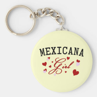 Mexican Girl Basic Round Button Key Ring