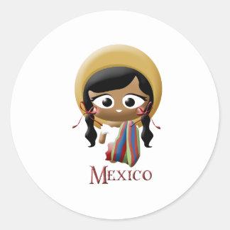 Mexican Girl Round Sticker