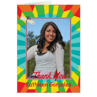 Mexican Graduation Thank You Card with Vibrant Col