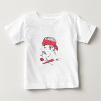 Mexican Guy Cigar Hot Chili Rose Drawing Baby T-Shirt