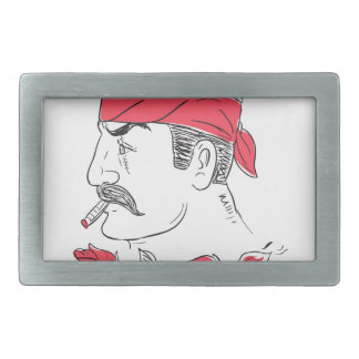 Mexican Guy Cigar Hot Chili Rose Drawing Belt Buckles