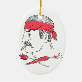 Mexican Guy Cigar Hot Chili Rose Drawing Ceramic Ornament