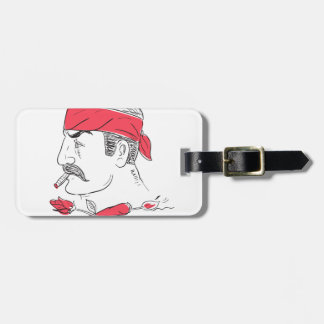 Mexican Guy Cigar Hot Chili Rose Drawing Luggage Tag