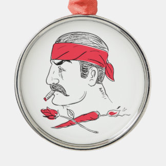 Mexican Guy Cigar Hot Chili Rose Drawing Metal Ornament