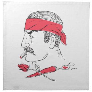 Mexican Guy Cigar Hot Chili Rose Drawing Napkin