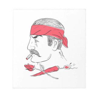 Mexican Guy Cigar Hot Chili Rose Drawing Notepad